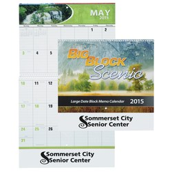 View a larger, more detailed picture of the Big Block Scenic Calendar - Spiral