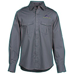 View a larger, more detailed picture of the Two-Pocket Stain-Resistant Roll Sleeve Shirt - Men s
