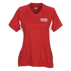 View a larger, more detailed picture of the A4 Cooling Performance V-Neck Colorblock Tee-Ladies -Screen