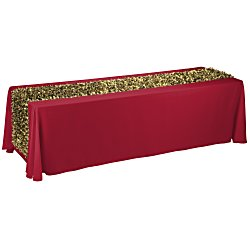 View a larger, more detailed picture of the 8 Closed-Back Table Throw w Metallic Floral Runner - Blank