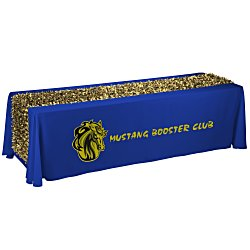 View a larger, more detailed picture of the 8 Closed-Back Table Throw w Metallic Floral Runner