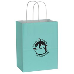 View a larger, more detailed picture of the Solid Tinted Recycled Shopping Bags - 10-1 2 x 8