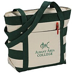 View a larger, more detailed picture of the Striped Accent 10 oz Boat Tote - 13 x 18