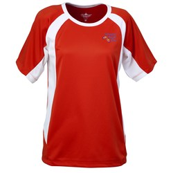 View a larger, more detailed picture of the Anti-Microbial Color Block Wicking Tee-Ladies -Emb-Closeout