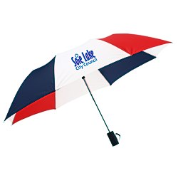 View a larger, more detailed picture of the 42 Folding Umbrella with Auto Open - Red White Blue - 24 hr
