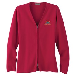 View a larger, more detailed picture of the Varna Full Zip V-Neck Sweater - Ladies - 24 hr