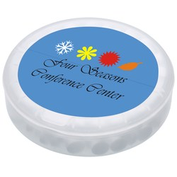 View a larger, more detailed picture of the Round Flip Top Dispenser - Sugar Free Mints