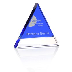 View a larger, more detailed picture of the Blue Triangle Crystal Award