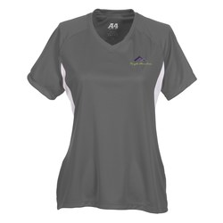 View a larger, more detailed picture of the A4 Cooling Performance V-Neck Colorblock Tee - Ladies -Emb
