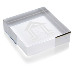 View a larger, more detailed picture of the Square Acrylic Paperweight - 24 hr
