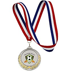 View a larger, more detailed picture of the Victory Medal - Red White & Blue Ribbon - 24 hr