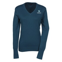 View a larger, more detailed picture of the Fine Gauge V-Neck Sweater - Ladies