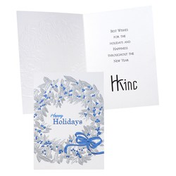 View a larger, more detailed picture of the Blue Ribbon Wreath Greeting Card