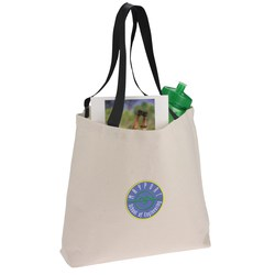 View a larger, more detailed picture of the Colored Handle Tote - Embroidered