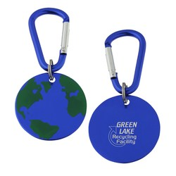 View a larger, more detailed picture of the Aluminum Dog Tag Key Chain - Globe - Closeout