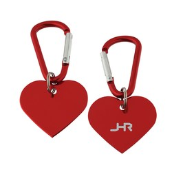 View a larger, more detailed picture of the Aluminum Dog Tag Key Chain - Heart - Closeout