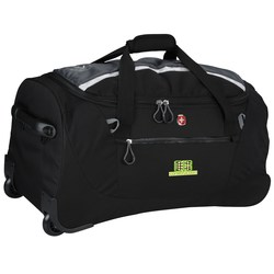 View a larger, more detailed picture of the Wenger Sporty Gray Ripstop 20 Rolling Duffel - Emb