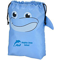 View a larger, more detailed picture of the Paws and Claws Drawstring Gift Bag - Dolphin