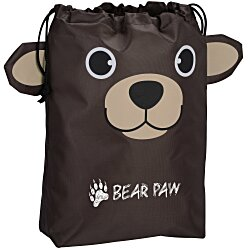View a larger, more detailed picture of the Paws and Claws Drawstring Gift Bag - Bear