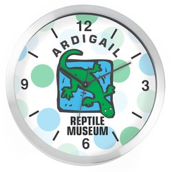 View a larger, more detailed picture of the Brushed Metal Full Color Wall Clock - 10 - Numbers