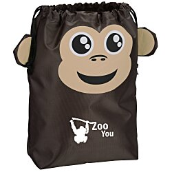 View a larger, more detailed picture of the Paws and Claws Drawstring Gift Bag - Monkey
