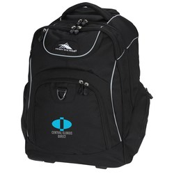 View a larger, more detailed picture of the High Sierra Powerglide Wheeled Laptop Backpack - Embroidered