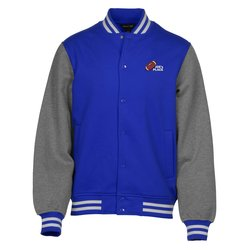 View a larger, more detailed picture of the Letterman Fleece Sweatshirt Jacket - Men s