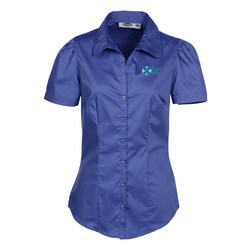 View a larger, more detailed picture of the Signature V-Neck Short Sleeve Blouse - Ladies