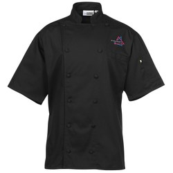View a larger, more detailed picture of the Twelve Cloth Button Short Sleeve Chef Coat with Mesh Back