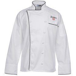 View a larger, more detailed picture of the Twelve Cloth Button Chef Coat with Black Trim