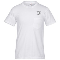 View a larger, more detailed picture of the Anvil 5 4 oz Cotton Pocket T-Shirt - White