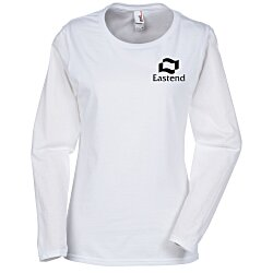 View a larger, more detailed picture of the Anvil Ringspun 4 5 oz LS T-Shirt - Ladies - White