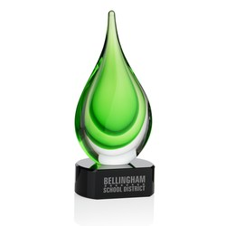 View a larger, more detailed picture of the Green Fusion Art Glass Award with Base