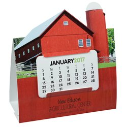 View a larger, more detailed picture of the Die-Cut Desk Calendar - Barn