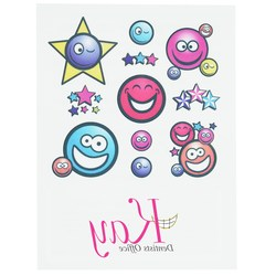 View a larger, more detailed picture of the Temporary Tattoo Mini Sheet- Smiley Faces