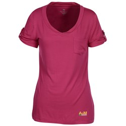 View a larger, more detailed picture of the Chloe V-Neck Pocket Tee