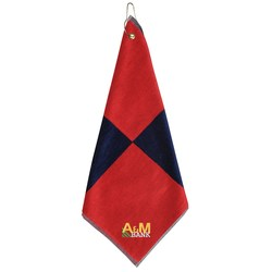 View a larger, more detailed picture of the Two-Tone Flag Golf Towel w Grommet - Closeout