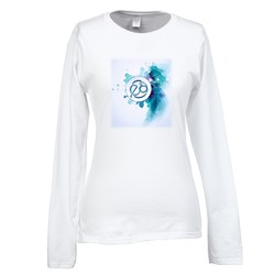 View a larger, more detailed picture of the Gildan SoftStyle LS T-Shirt - Ladies - FC - White