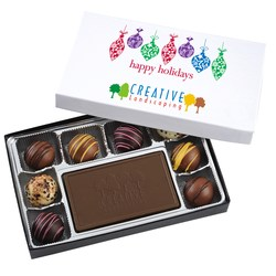 View a larger, more detailed picture of the Truffles & Chocolate Bar - 8 Pieces - Happy Holidays