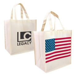 View a larger, more detailed picture of the Patriotic Nonwoven Shopping Tote - Closeout