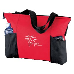 View a larger, more detailed picture of the Double Pocket Zippered Tote - Screen