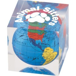 View a larger, more detailed picture of the Globe Paperweight - Square